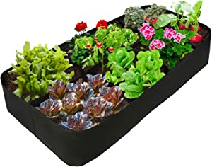 Plant Grow Bags 8 Grids Square Heavy Fabric Raised Garden Bed Pot for Vegetable, Large Durable Breathe Cloth Planting Container for Potato, Carrot, Onion, Flower (1, 2 FT X 4 FT)