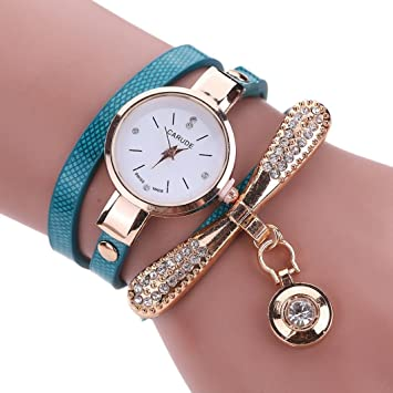 LtrottedJ Women Leather Rhinestone Analog Quartz Wrist Watches (Blue)