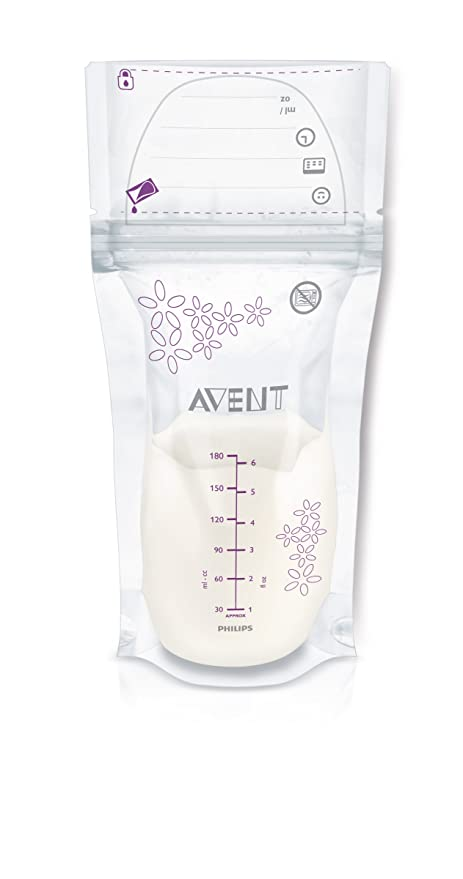 Philips AVENT Breast Milk Storage Bags, Clear, 6 Ounce, 50 Pack