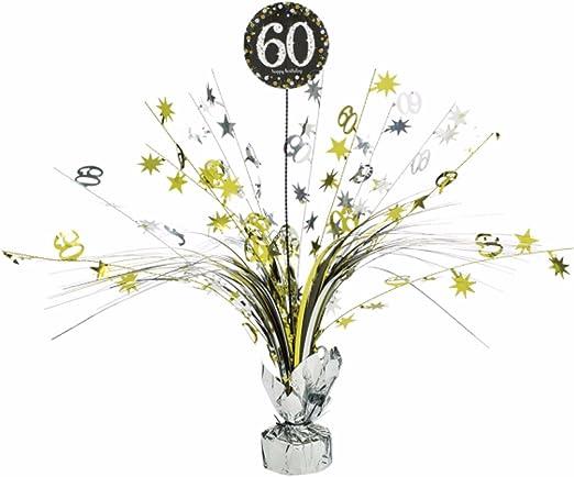 Centro de mesa 60 cumpleaños plata/oro: Amazon.es: Hogar