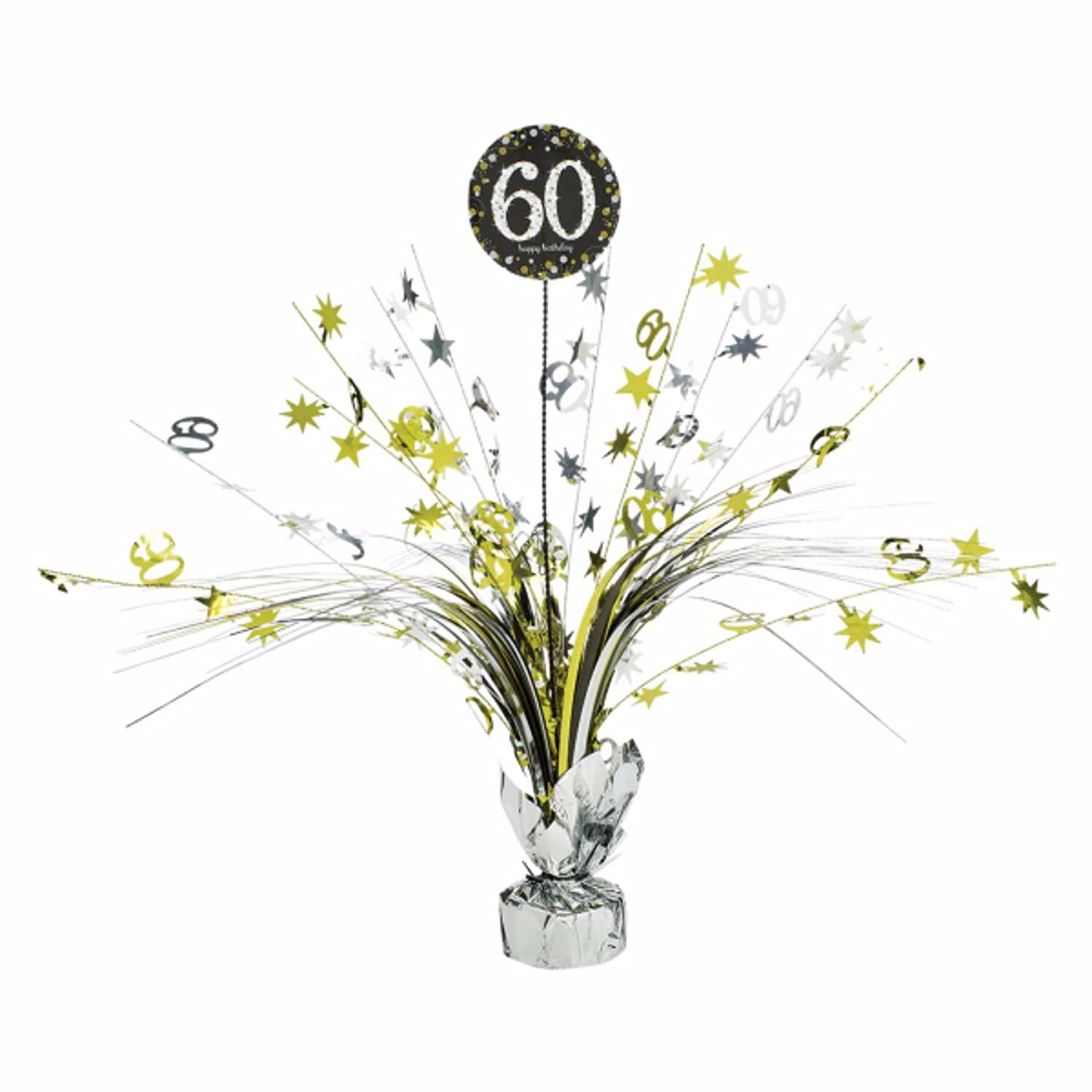 60th Birthday Spray Centrepiece Table Decoration Black Silver Gold Amazoncouk Baby