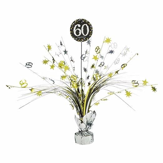Centro de mesa 60 cumpleaños plata/oro