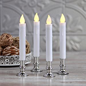 LampLust Christmas Window Candle Lights - Set of 4 Flameless Taper Candles with Silver Bases, Battery Operated, Flickering Warm White LED, 4/8 Hour Timer, Remote Control & Batteries Included