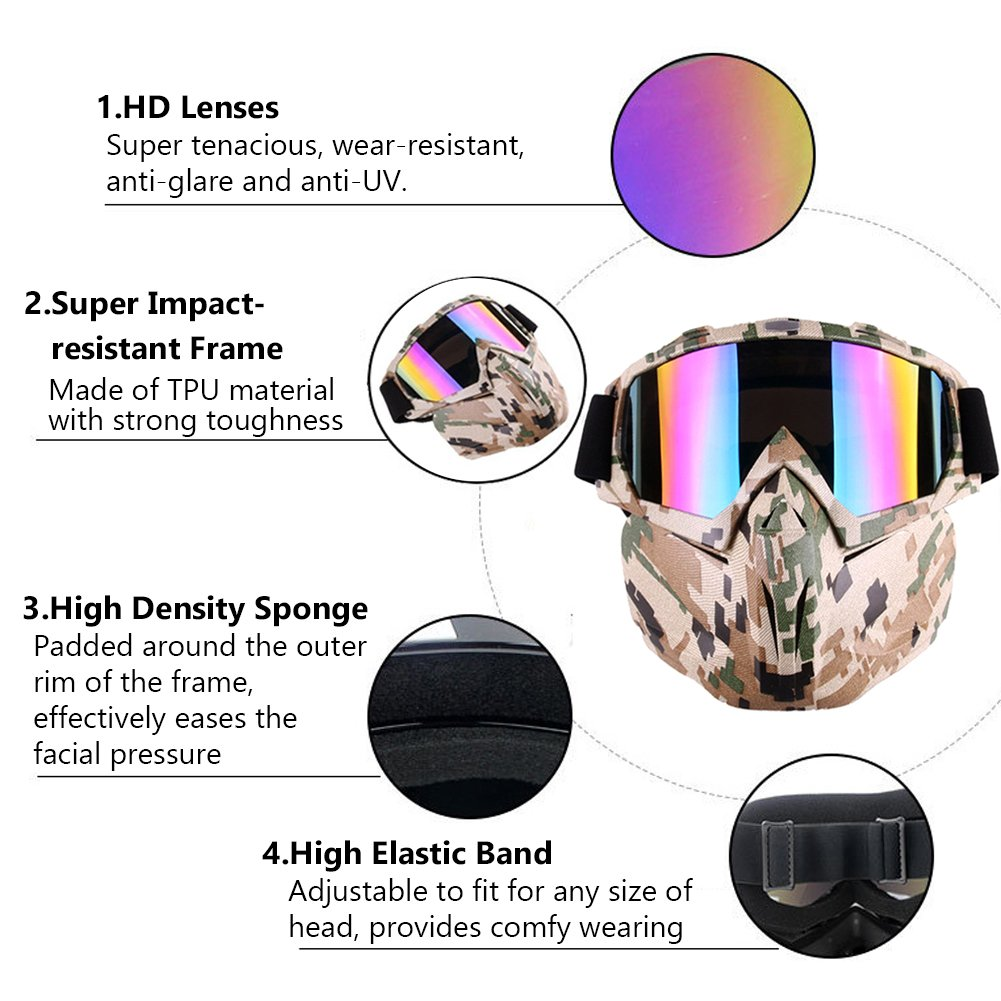 Great Camo Tactical Protective Full Face Anti Fog Paintball Mask With Colorful Single Lens For Cs Game To Adopt Advanced Technology Sports & Entertainment Shooting