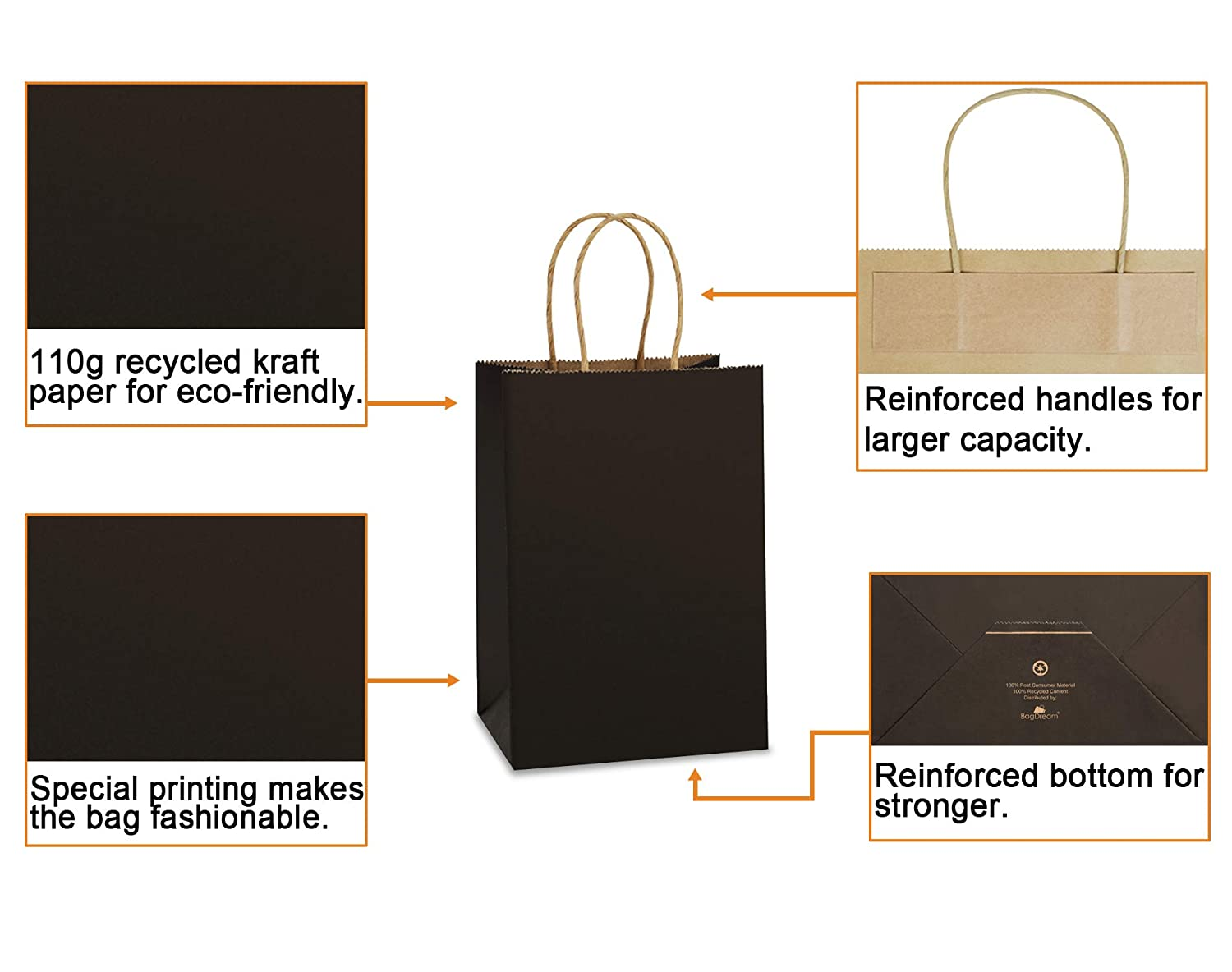 BagDream Gift Bags Kraft Paper Bags 100Pcs 5.25x3.75x8 Inches Small Shopping Bag Kraft Bags Party Bags Black Paper Bags with Handles Bulk