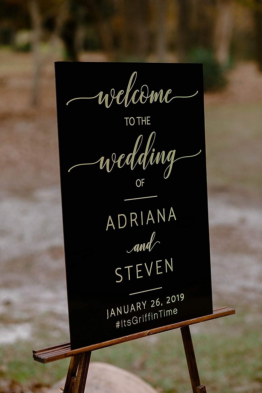 Amazon com: Black Glass Look Acrylic Welcome To The Wedding