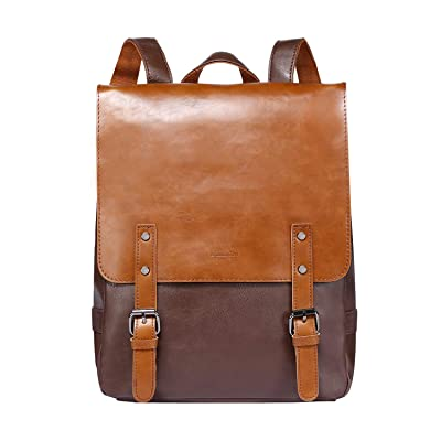 Zebella Womens Leather Backpack Vintage Laptop Brown Backpack Faux Leather Travel Daypack College School Bookbag