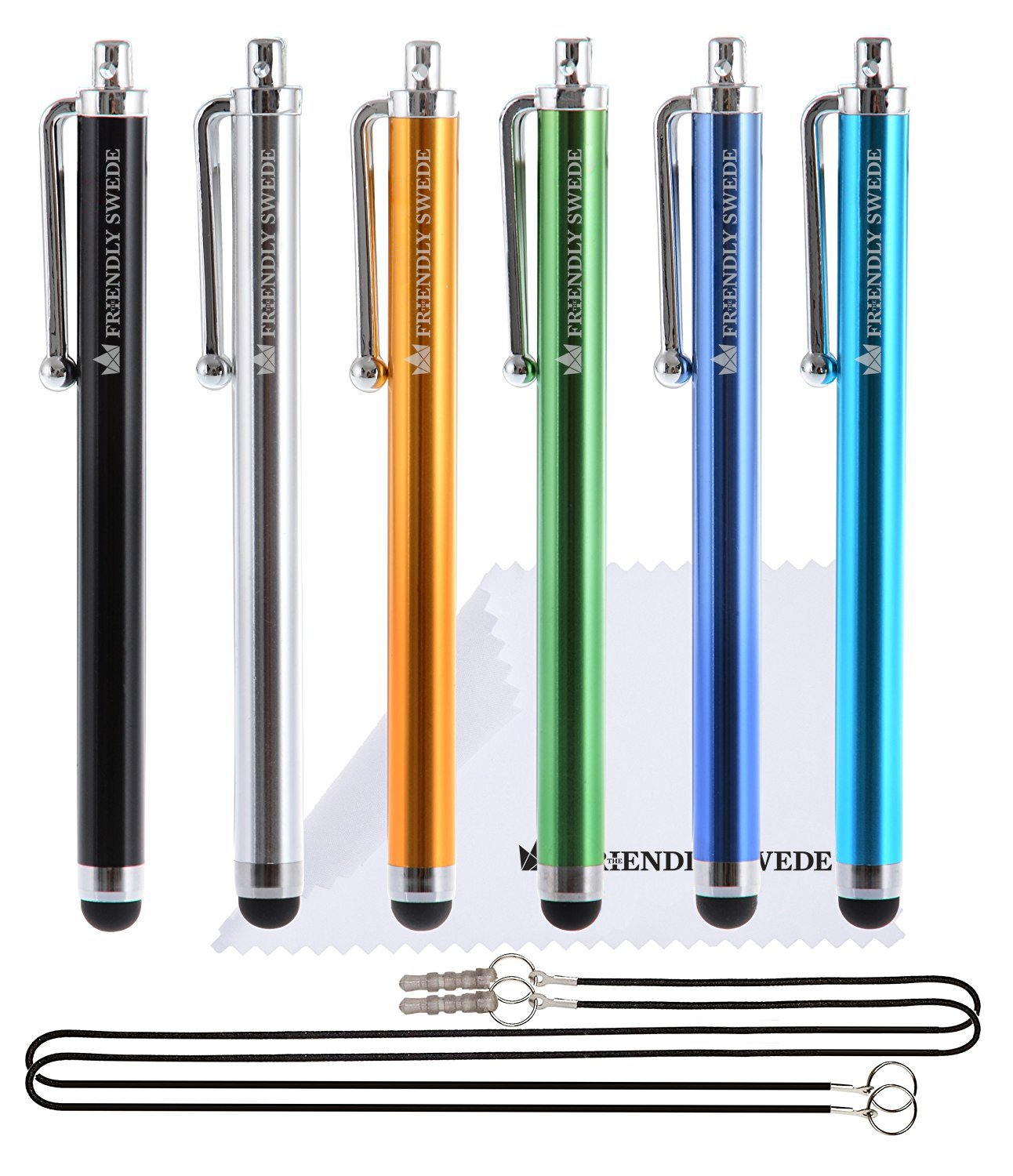 "Capacitive Touch Screen Stylus Pens 4.5"", 6-pack - including 2 x 15"" Lanyards and Screen Cleaning Cloth by The Friendly Swede (Black, Gold, Silver, Blue, Sea Blue, Green)"