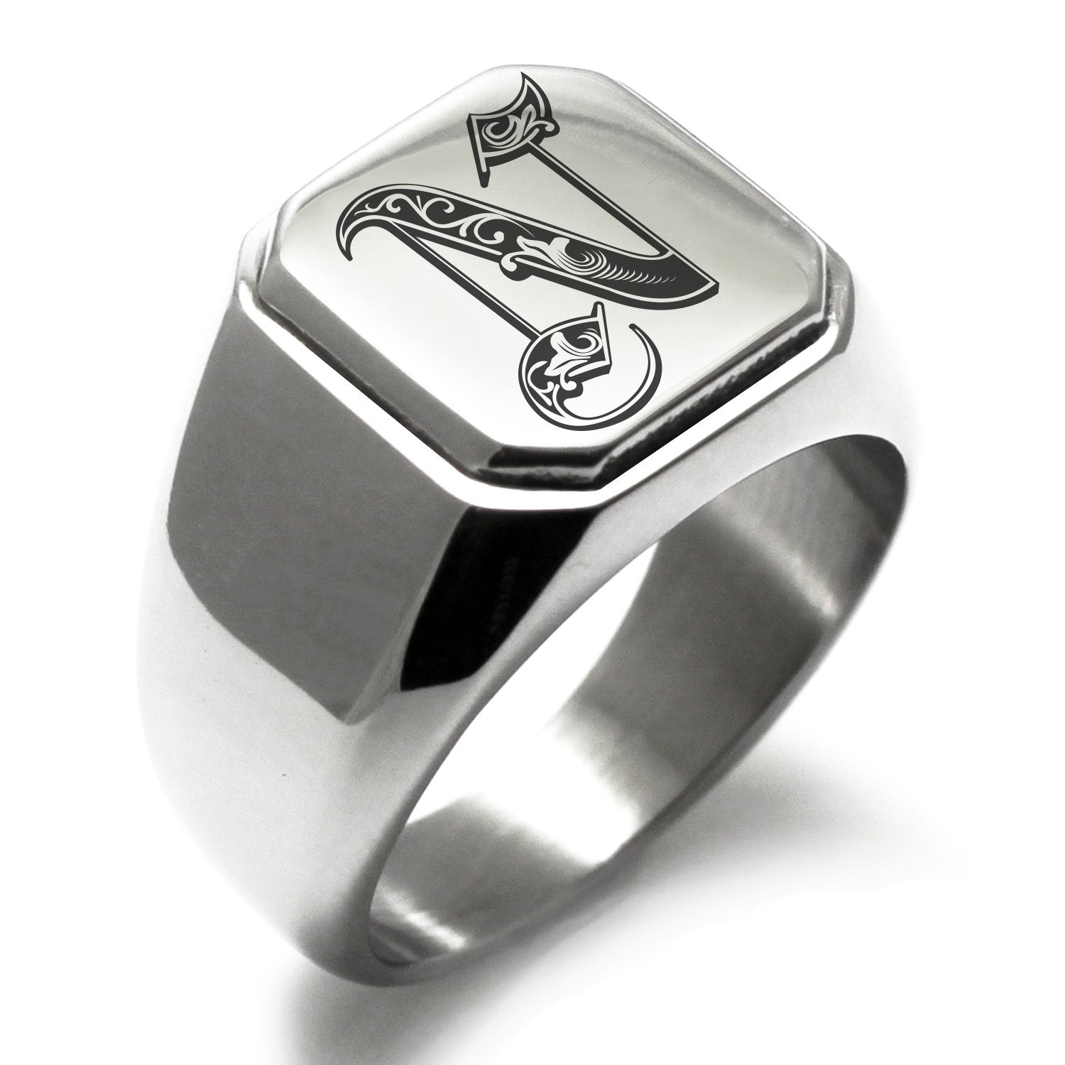 Stainless Steel Letter N Alphabet Initial Royal Monogram Engraved Square Flat Top Biker Style Polished Ring