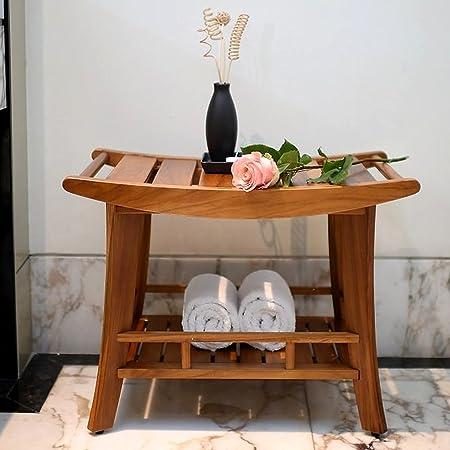 Salle De Bain Banc En Teck Massif Bois 61 X 41 X 46 5 Cm Amazon Fr Cuisine Maison