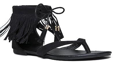 a11e88996 OLIVIA K Women s Fringe Lace Up Gladiator Thong Flat Sandals-Casual Dress  Low Flat Heel