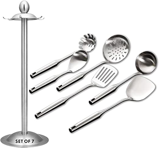6 PIECE STAINLESS STEEL KITCHEN COOKING UTENSIL SET SPOON FORK LADLE TURNER 099