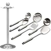 Kitchen Utensil Set – 6 Piece Stainless Steel Cooking Utensils with Rotating Holder Organizer Includes Slotted Spoon…