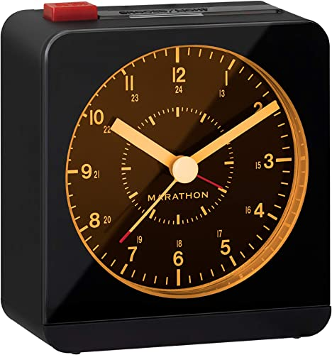 Marathon Silent Non-Ticking Alarm Clock with Warm Amber Auto Back Light and Repeating Snooze – Batteries Included – CL030053BK Black Black