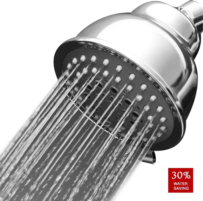 MEETYOO Ducha de lluvia de alta presión de alto flujo de ahorro de agua cabezal de ducha de gran alcance 5 Ajustes extraíble montado en la pared con filtro para Baño Hotel