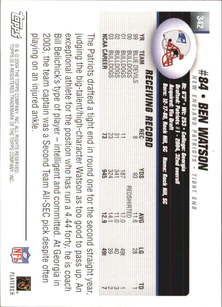 2004 Topps Football Rookie Card #342 Ben Watson