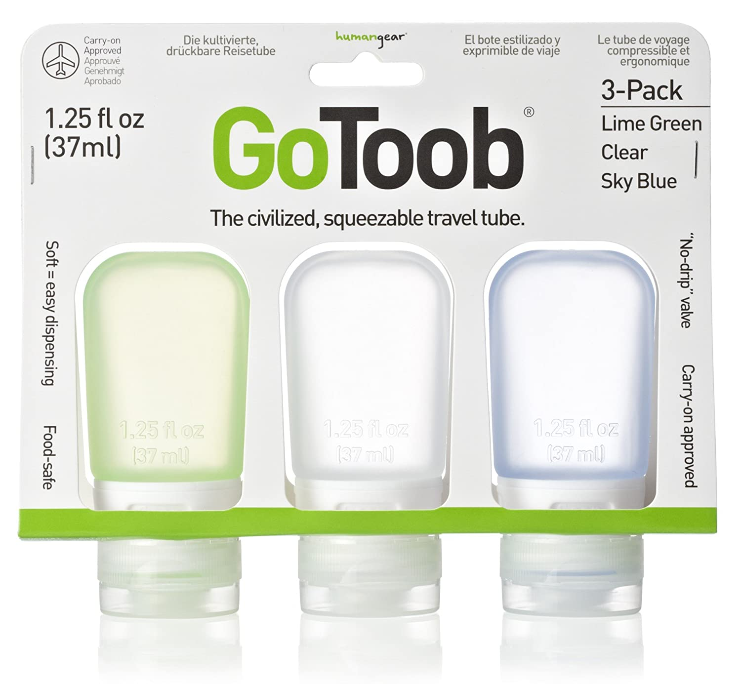 HumanGear GoToob, 1.25-Ounce, Small, 3-pack, lime green, clear, sky blue, HG0181