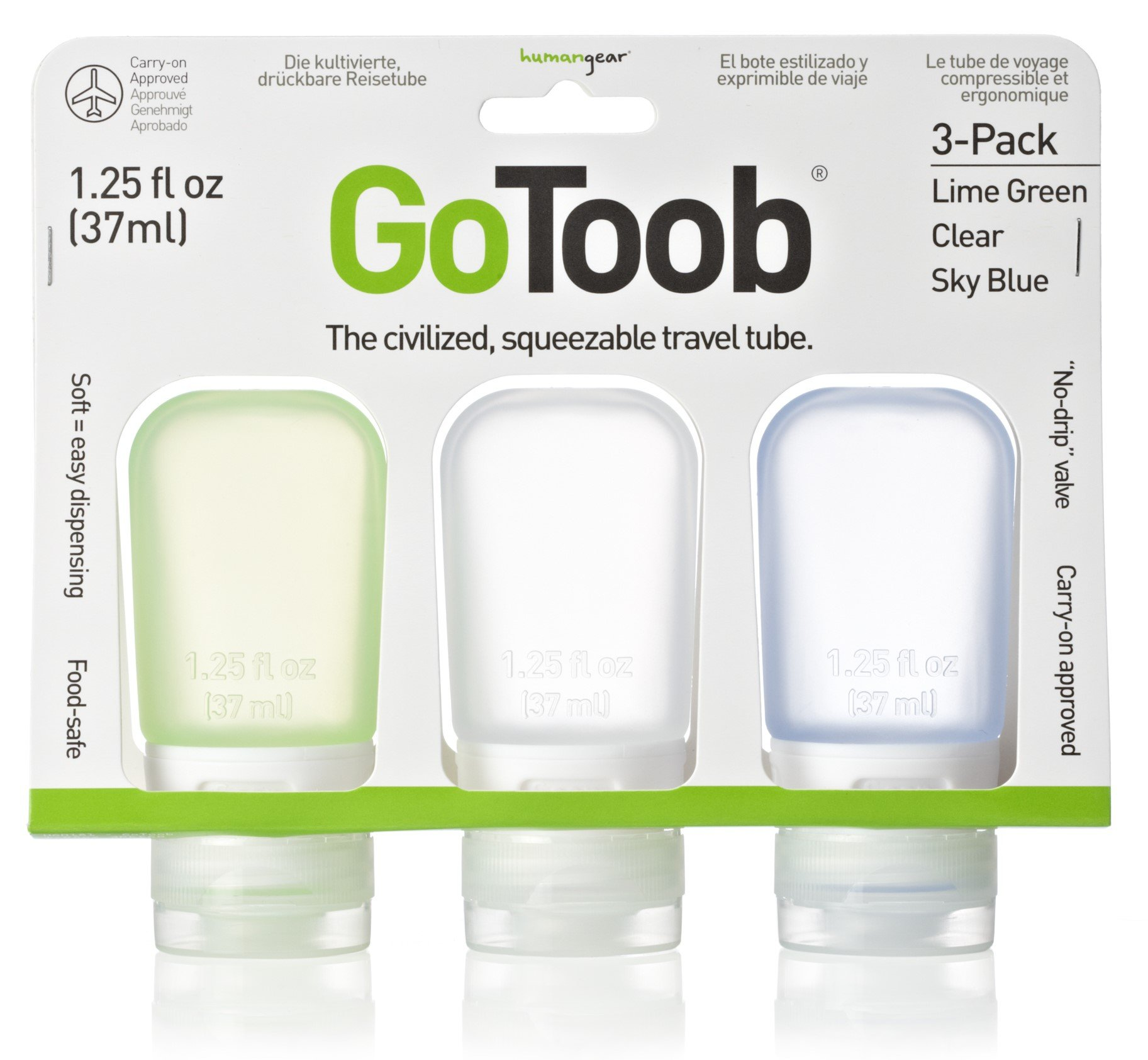humangear GoToob 1.25 oz - 3 Pack Assorted Colors