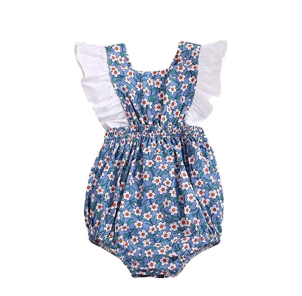 Fashion New Newborn Infant Girl Bodysuit Baby Vintage Floral Ruffles Halter Romper Sunsuit Outfit Princess Clothes White 3-6 M