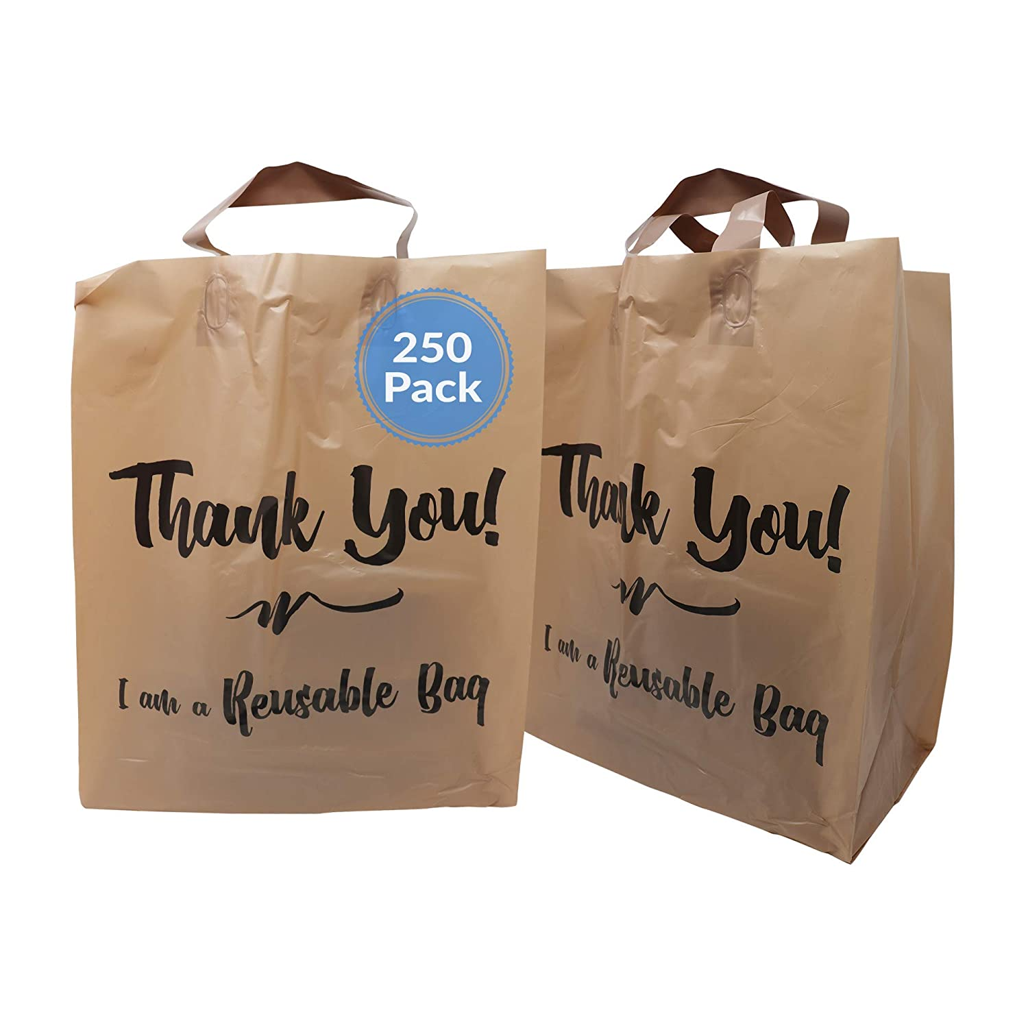 Reli. Reusable Thank You Bags | 250 Bags Bulk | 2 Mil | Brown/Kraft Shopping Bags with Handles | Take out/ToGo Plastic Bags for Food, Grocery, Retail | 12