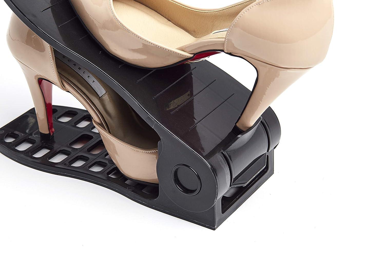 IBOBOS Shoe Slots Organizer 8 Piece Set Black Closet Space Saver Shoe Slotz 3step Adjustable Non-Slip Plastic Footwear Shoe Rack Organizer Comes with Free 2 Charcoal Deodorizer Michelle International