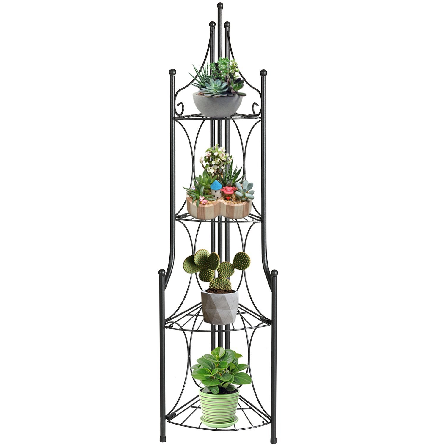 DOEWORKS 4 Tier Folding Plant Stand Pot Rack & Metal Corner Shelf, Storage Shelves for Living Room Bedroom,11.2 L x 11.8 W x 43.3 H by DOEWORKS