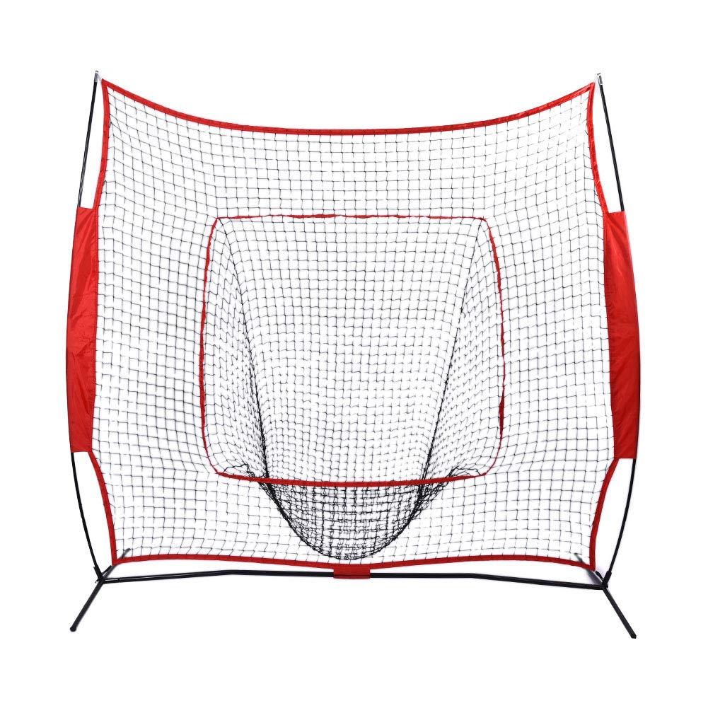 Zerone Baseball Training Net 7 x 7 ft Baseball Training Net with Collection Net Softball Practice Beating Batting Training Net with Steel Tubular Frame