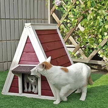 Weatherproof Cat Shelter 76cm x 56cm x 73cm Grey Pet Wooden Maisonette Shelter Petsfit Outdoor Cat Wooden House Lodge Ideal Cat Condo