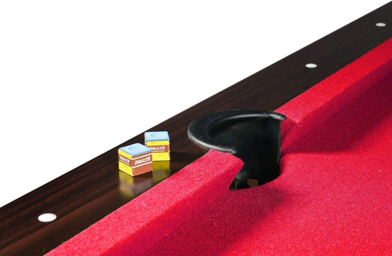 Billar Americano 217 x 125 x 80 cm Mesa de Billar con Accesorios: 2 Tacos de Billar 1 triángulo, 1 Juego de Bolas, 1 Cepillo, 2 tizas - alfombra roja: Amazon.es: Deportes y aire libre