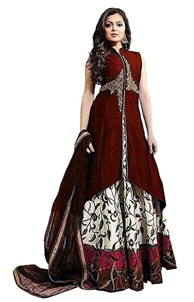 Varudi Fashion Womens Taffeta Silk Embroidered Semi Stitched