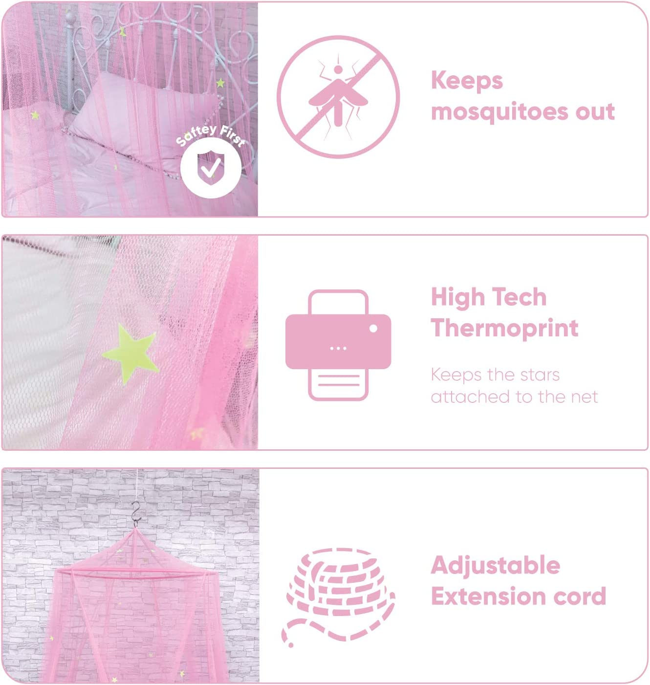 Kid Bed Girls Or Adults Fire Retardant Fabric Girls Bed Or Full Size Bed Kids Bed Canopy with Fluorescent Stars Glow in Dark for Baby Anti Mosquito As Mosquito Net Use to Cover The Baby Crib
