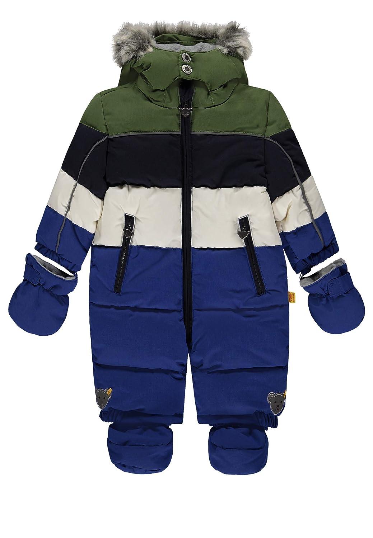 Steiff Jungen Schneeoverall/Schneeanzug, blau-grün gestreift 6843831