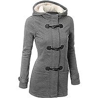 GHYUGR Abrigos con Horn Botones Mujer Invierno Elegantes Slim Chaqueta con Capucha Lana Capa Jacket Sudadera Pullover…