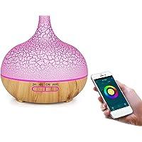 Liseng WiFi luchtbevochtiger theric olie diffuser Compatibel met Alexa en Home EU Plug (lichthout)