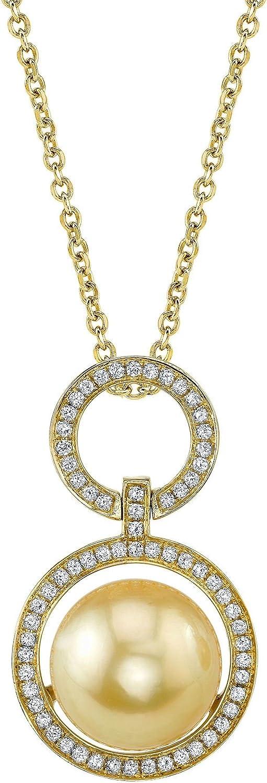 Mar del sur de oro con perla cultivada y diamante Cameron pendiente en 18 K oro