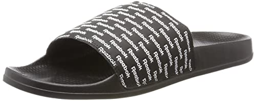 0bf9df733845 Reebok Men s Classic Slide Beach and Pool Shoes Black (RPT-Black White)