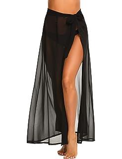 3ef227a359f MAXMODA Women Wrap Beach Skirt High Waist Summer Sheer Beach Cover up Maxi  Skirt Long Beach