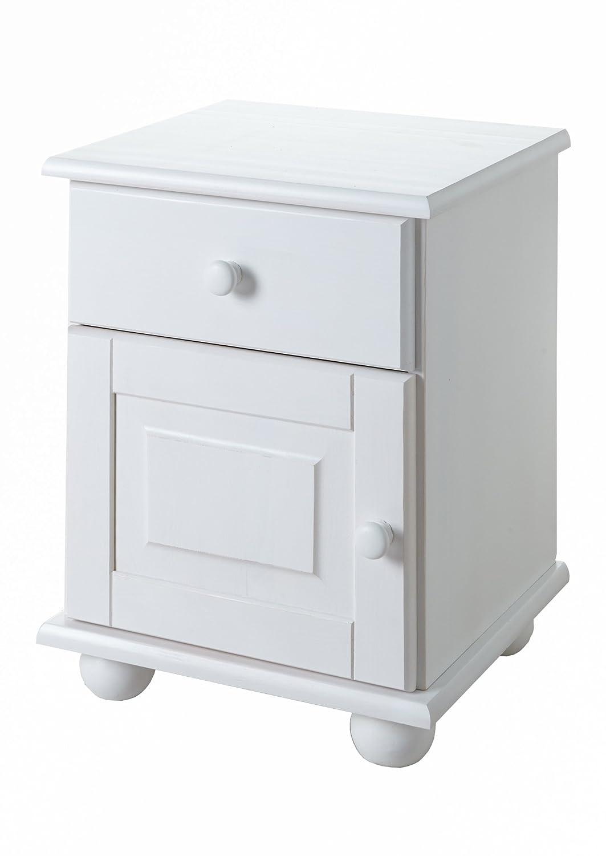 Ticaa Nachtkommode Olivier Kiefer mit 1 Schublade Weiß