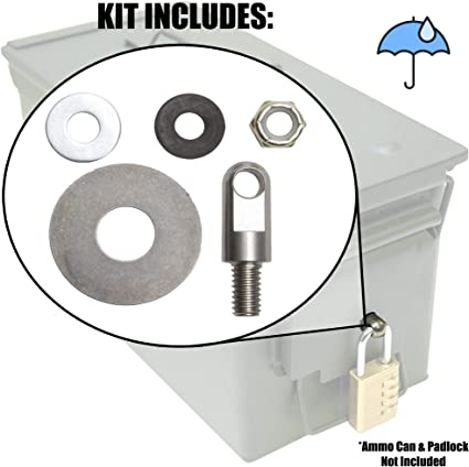Amazon Com Case Club Ammo Can Lock Hardware Kit With Stainless Steel Hardware And Waterproof Gasket For Steel 50 Cal Fat 50 30 Cal 20mm 40mm Ammo Cans 1 Count Sports Outdoors