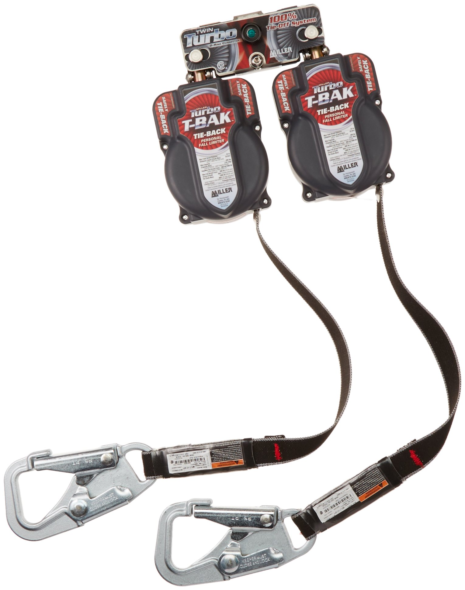 Miller by Honeywell MFLTB-1/7.5FT TurboLite T-BAK Personal Fall Limiter with Twin Turbo D-Ring Connector