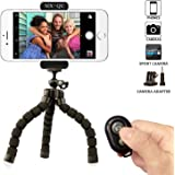 Phone Tripod,SIX-QU Flexible Phone Stand Holder with Bluetooth Wireless Remote Shutter for Cellphone,Ipad ,Digital Camera&Gopro