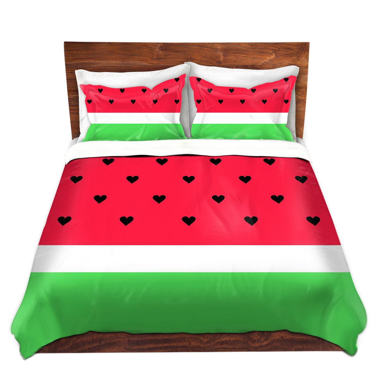 DiaNoche Designs Organic Saturation I Love Watermelon Brushed Twill Home Decor Bedding Cover, 8 King Duvet Sham Set