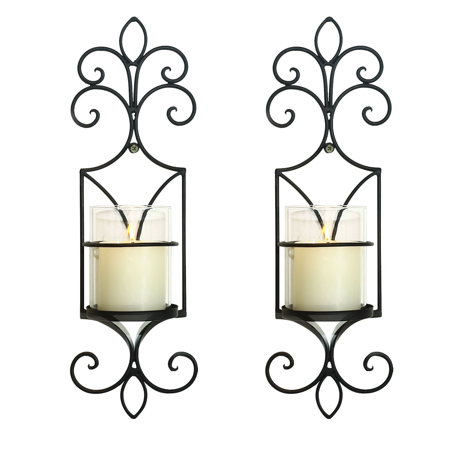 Homebeez Deorative Iron Vertical Candle Holder Sconce (Set of Two),Black Color With Antique Finish HBHD0019