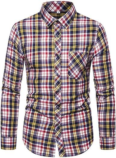 Heetey - Camisa de Manga Larga para Hombre, Corte Ajustado, Camisa a Cuadros, Camisa de Ocio, Camisa de Manga Larga, Camisa Casual, Manga Larga, Camisa para Hombres, Camisa Superior: Amazon.es: Ropa y