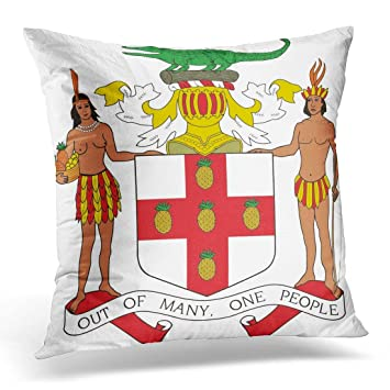 Amazon Com Siwbko Throw Pillow Cover Cutout Jamaica Of Arm Emblem