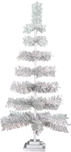 "48"" Retro Silver Tinsel Christmas Tree Vintage Feather Style XMASS Holiday Seasonal Home Decor Centerpiece Trees Merchandising Display Hand-Made Artificial Christmas Tree"