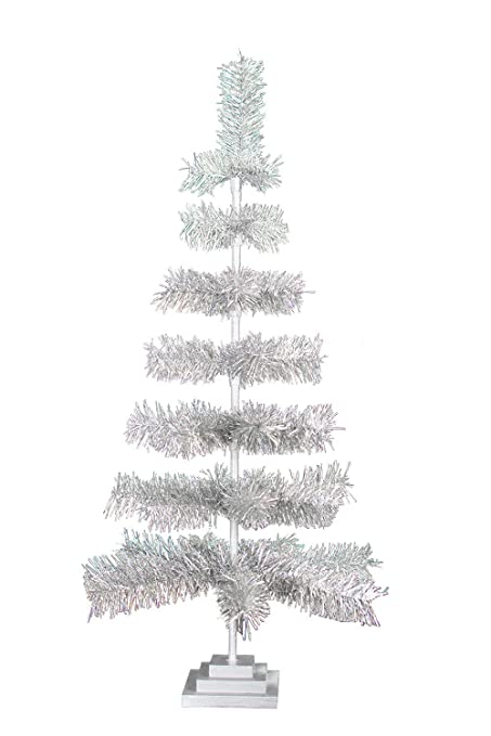 48 retro silver tinsel christmas tree vintage feather style xmass holiday seasonal home decor centerpiece - Silver Tinsel Christmas Tree