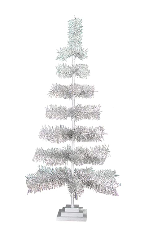Tinsel Christmas Tree.48 Retro Silver Tinsel Christmas Tree Vintage Feather Style Xmass Holiday Seasonal Home Decor Centerpiece Trees Merchandising Display Hand Made