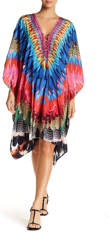 La Moda Clothing Multi Colored Sheer Full Sleeved Beach Cover Up Dress