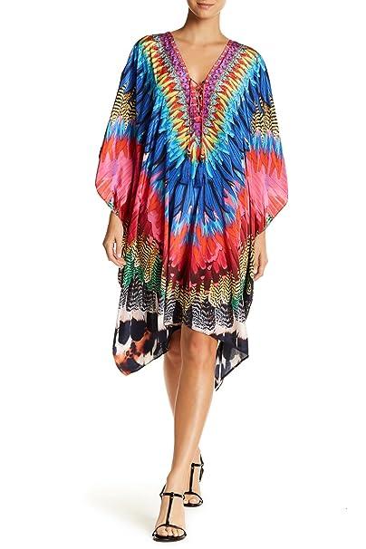 LA MODA CLOTHING Multi Colored Sheer V-Neck Short Kaftan ...